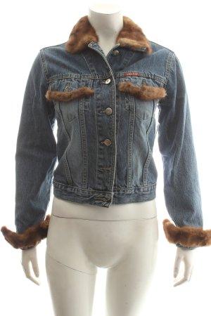 Jeansjacke blau-braun klassischer Stil