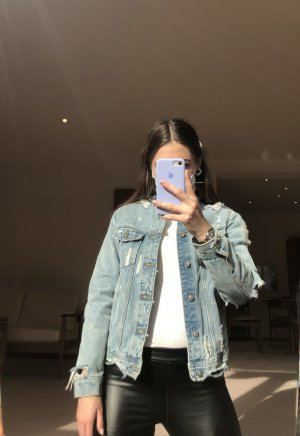 Jeansjacke Blau Destroyed Zara