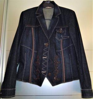 Biba Blazer en jean bleu foncé-brun coton