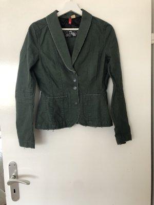 H&M Veste en jean vert foncé