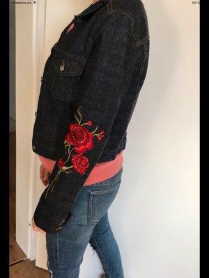 Jeansjacke Blumenstickerei Rosen von Mango Gr. M