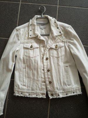 Desigual Veste en jean blanc cassé