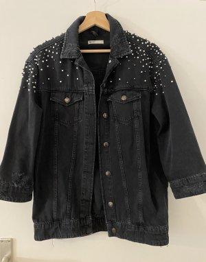 Jeansjacke Gina Tricot Schwarz Perlen Denim Jacke Overshirt Used Ripped S 36 NEU