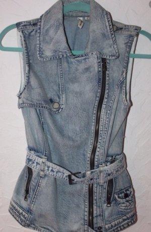 Jeansjacke im Bikerstil von Mango XS -S, biker, jeans, asos,Zara,Denim, use Look,helle jeans