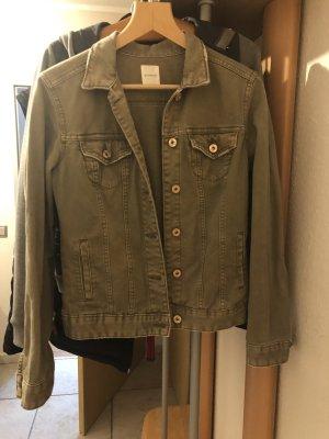 Promod Jeansowa kurtka oliwkowy-zielono-szary Tkanina z mieszanych włókien