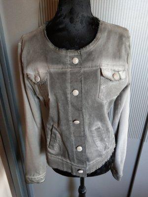 Jeansjacke Jacke grau Pailletten Made in Italy