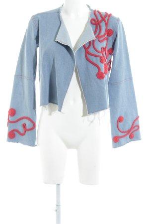 Jeansjacke kornblumenblau-rot extravaganter Stil