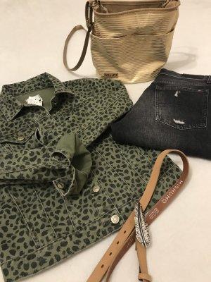 Jeansjacke Leopardenprint