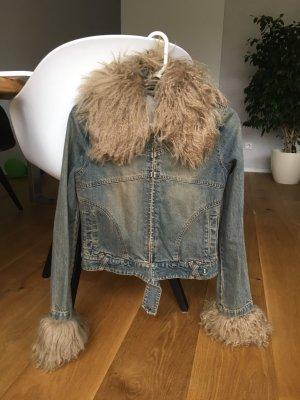 Jeansjacke mit Echtfell Lama Neuwertig!!!