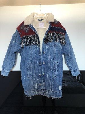 Jeansjacke mit Fakefell