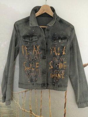 Jeansjacke mit Print