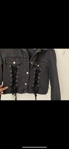 Jeansjacke mit Schnürung