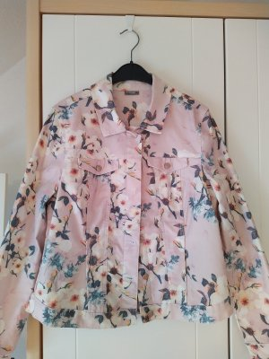 Jeansjacke rosa Blumen von Laura Torelli Größe M