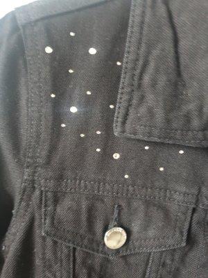 Jeansjacke schwarz Strasssteine