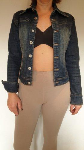 Jeansjacke, Stretch, blau mit Waschung, Größe 36