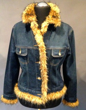 Apart Impressions Veste en jean bleu foncé coton
