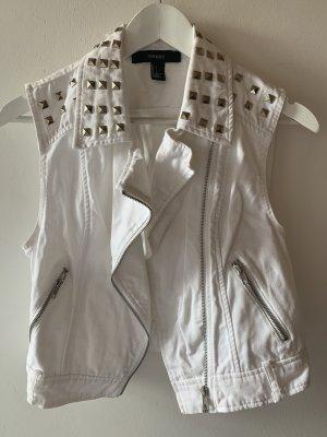 Forever 21 Denim Vest white-silver-colored