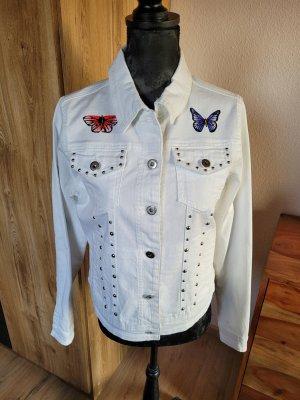 Jeansjacke weiß Schmetterlinge estelle jolie neu