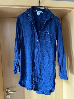 H&M Jeansowa sukienka stalowy niebieski Tkanina z mieszanych włókien