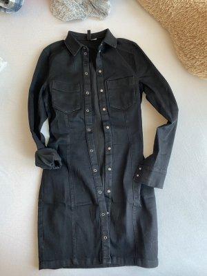 H&M Vestido vaquero negro-color plata
