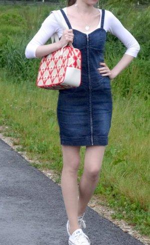 Jeanskleid, von Pimpkie, 34/ XS, mit durchgehendem Reißverschluss / Zipp, zwei Taschen vorne, dünne Träger, Bustier-Stil