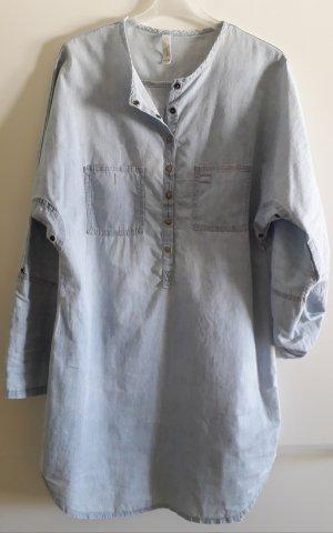 Robe en jean bleu azur coton