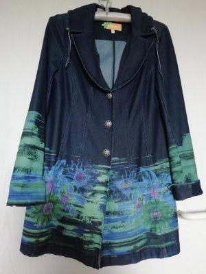 Biba Short Coat steel blue-turquoise cotton