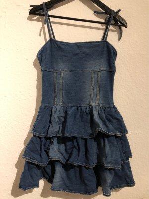 Jeansoptik Kleid mit Volants