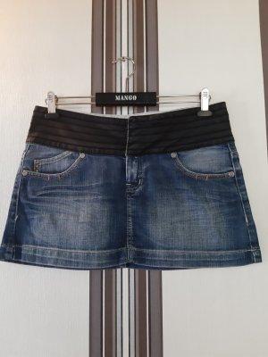 Mango Jupe en jeans bleu-noir coton