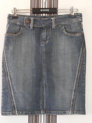 Mango Jupe en jeans bleu-bleu foncé coton