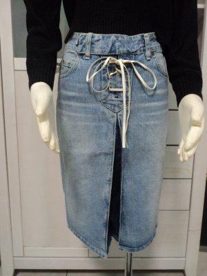 Lee Jeansowa spódnica chabrowy-błękitny Tkanina z mieszanych włókien