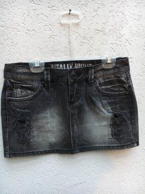 Jeansrock Minirock Kurzer Rock Tally Weijl schwarz grau