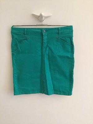 Jeansrock, Stretch, frisches grün, gerader Schnitt