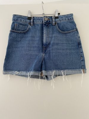 Asos Denim Short taille haute bleu acier