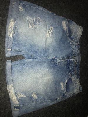 Keine Marke Jeansy biodrówki jasnoniebieski-biały Denim