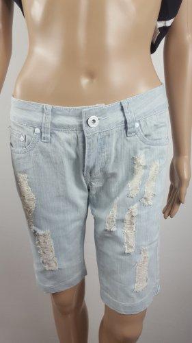 Pantalón corto de tela vaquera blanco-azul claro