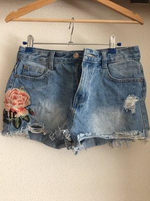 jeansshorts mit rosenstickerei