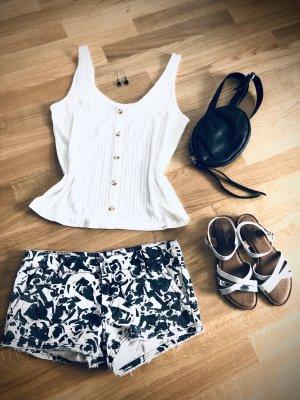 Pantaloncino di jeans bianco-nero