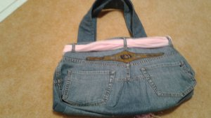 Bolso de tela azul-rosa Algodón