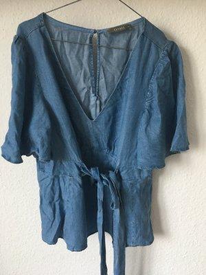 Oasis Blouse en jean bleu acier coton