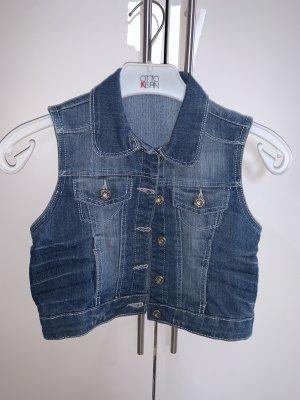 / Gilet en jean bleu acier-bleu foncé
