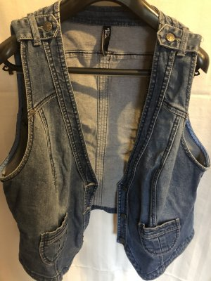 maxi blue. Denim Vest multicolored cotton