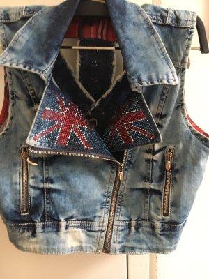 Richmond Gilet en jean bleu pâle