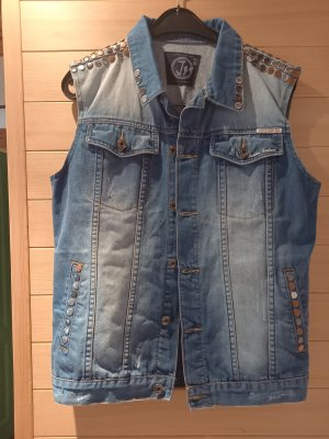Gilet en jean bleu acier tissu mixte