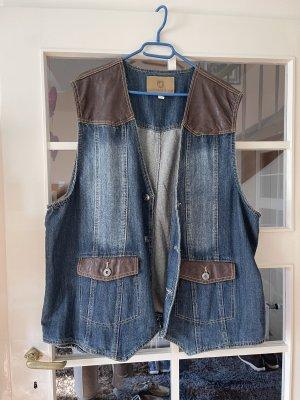 Smanicato jeans blu acciaio-marrone