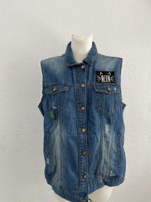 Jeansweste denim blau gr 44 mit patches
