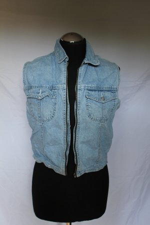 Vintage Gilet en jean multicolore tissu mixte