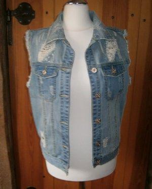 Jeansowa kamizelka stalowy niebieski Bawełna