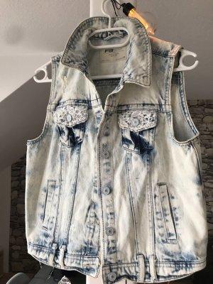 FB Sister Smanicato jeans bianco-celeste
