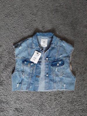 Pull & Bear Gilet en jean bleu clair-bleu